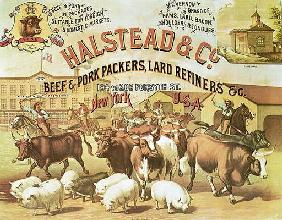 Beef & Pork Packers, c.1880 (colour litho) 19th