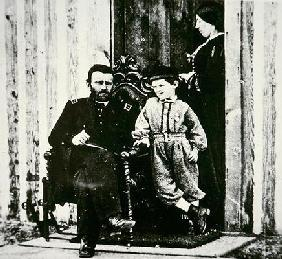 General Grant with his wife Julia Dent and their son Frederick Dent Grant, at City Point (b/w photo) 19th