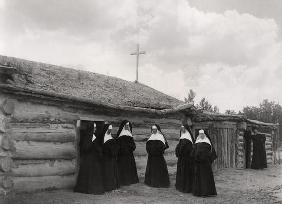 Nuns in front of the Saint Labre mission, Ashland, Montana (b/w photo) 0532