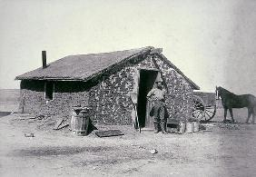 Typical prairie sodhouse, Wichita County, Kansas, c.1880 (b/w photo) 1751