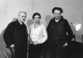 Albert Kahn, Frida Kahlo and Diego Rivera in the mural project studio at the Detroit Institute of Ar 1932