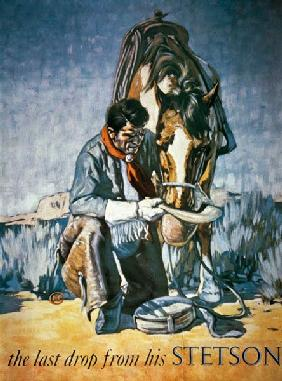 The Last Drop from his Stetson (colour litho) 19th