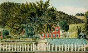 View of a Red House with a Picket Fence 1854  with