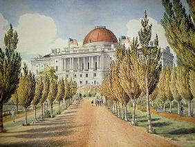 View of the Capitol (colour litho) 19th