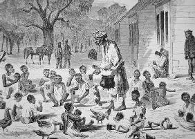 A cook feeding slave children on a Southern plantation, c.1860 (engraving) 02nd-