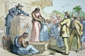 A slave auction in the Deep South, c.1850 (coloured engraving) 1360
