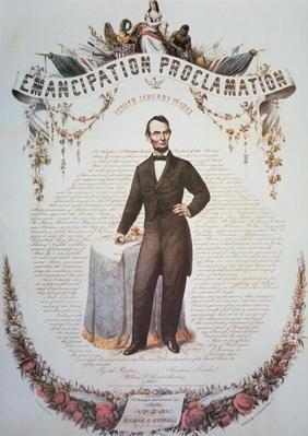 A souvenir print of the Emancipation Proclamation, issued 1st January 1863 (colour litho) 1849