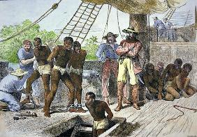 African slaves being taken on board ship bound for USA (coloured engraving) 1572