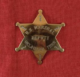 Badge of a US Deputy Marshal of Oklahoma Territory, c.1895 (brass) 19th