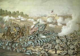 Battle of Williamsburg, 5th May 1862 by Kurz & Allison (colour litho) 15th