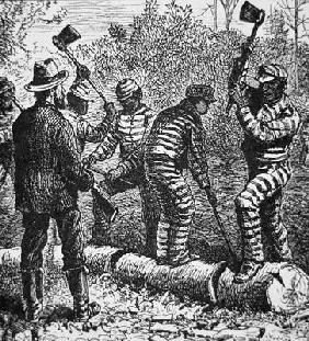 Black convicts on a chain-gang at work in Georgia (engraving) 1557