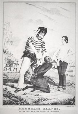 Branding slaves on the coast of Africa, prior to embarkation, 1845 (litho) 02nd