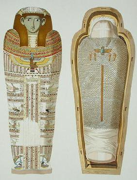 Case and mummy in its cerements from Gizeh, Volume II, plate XXVI from 'Ancient Egypt' by Samuel Aug 1900