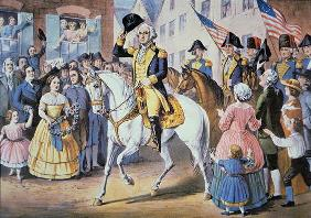 George Washington enters New York City 25 November, 1783 after the evacuation of British forces (col 13th