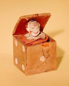 Jack-in-the-box (clown face), 1870-1900 (wood, textile, metal, paint) 19th