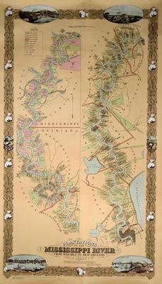 Map depicting plantations on the Mississippi River from Natchez to New Orleans, 1858 (colour litho) 19th