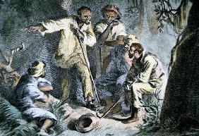 Nat Turner (1800-31) with fellow insurgent slaves during the Slave Rebellion of 1831 (coloured engra 1646
