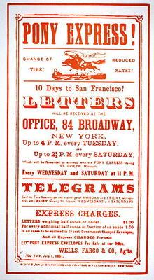 Pony Express Poster, 1861 (litho) 19th