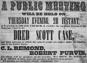 Poster advertising a meeting to discuss the 'Dred Scott (1799-1858) Case', 1857 (litho) 14th