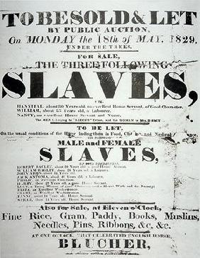 Poster for a slave auction, 1829 (litho) 04th-