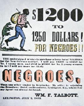 Poster for slave trade, New Orleans, 1853 (colour litho) 05th-