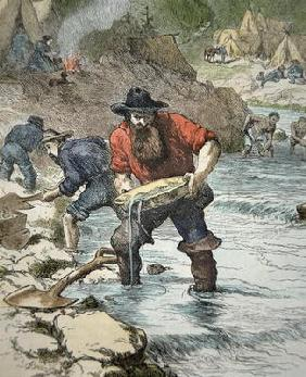 Prospectors panning for gold during the Californian Gold Rush of 1849 (coloured engraving) 19th