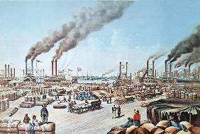 The Levee at New Orleans, 1884 (colour litho)