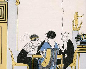 Elegant Couples Playing a Card Game 1910