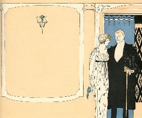 Fashionable Couple Arriving at a Ballroom 1910