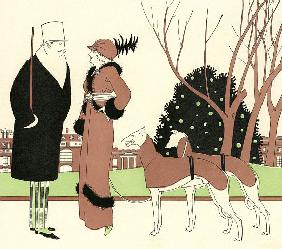 Fashionable Couple with Two Greyhounds 1910