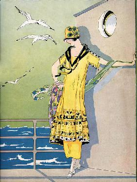 Fashionable Flapper on the Deck of a Cruise Ship 1920