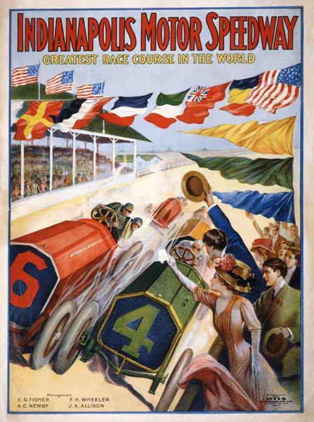 Poster advertising The Indianapolis Motor Speedway c.1909