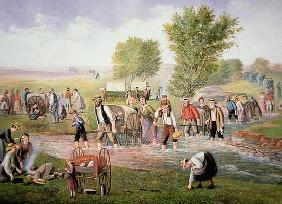 Mormon pioneers pulling handcarts on the long journey to Salt Lake City in 1856 (colour litho) 14th