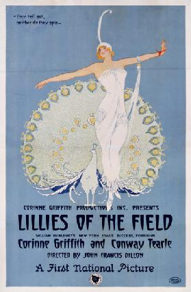 Poster advertising the film 'Lillies of the Field', printed by Ritchey 1924