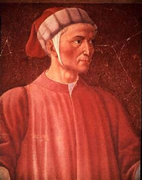 Dante Alighieri (1265-1321) detail of his bust, from the Villa Carducci series of famous men and wom c.1450