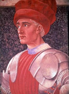 Farinata degli Uberti, detail of his bust, from the Villa Carducci series of famous men and women c.1450