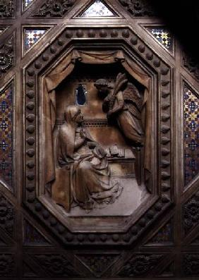 Tabernacle, detail of the Annunciation of the Virgin 1359