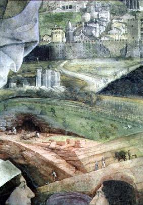 Arrival of Cardinal Francesco Gonzaga; detail of the background showing an idealised view of Rome, f 1465-74