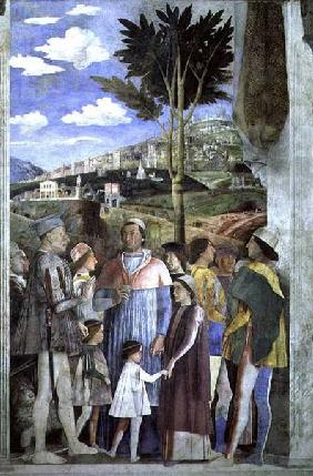 Arrival of Cardinal Francesco Gonzaga, greeted by his father Marchese Ludovico Gonzaga III (reigned 1465-74