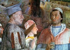 Marchese Ludovico Gonzaga III of Mantua (reigned 1444-78) greeting his son Cardinal Francesco Gonzag 1465-74