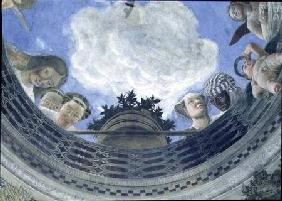 Trompe l'oeil oculus in the centre of the vaulted ceiling of the Camera degli Sposi or the Camera Pi 1465-74