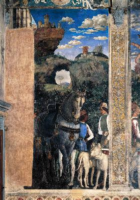 Horse and groom with hunting dogs, from the Camera degli Sposi or Camera Picta 1465-74