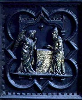 The Angel Announces to Zechariah, first panel of the South Doors of the Baptistery of San Giovanni 1336