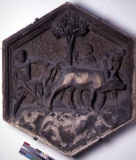The Art of Agriculture, hexagonal decorative relief tile from a series depicting the practitioners o  c.1334-13