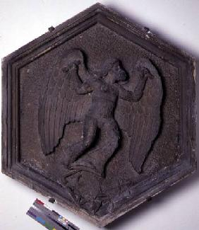 The Art of Flight, Daedalus, hexagonal decorative relief tile from a series depicting the practition  c.1334-48