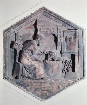 The Art of Forging, hexagonal decorative relief panels from a series depicting the practitioners of  c.1334-48