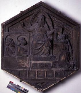 The Art of Law, hexagonal decorative relief tile from a series depicting the practitioners of the Ar  c.1334-48