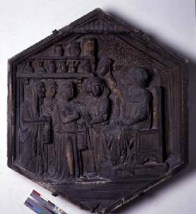 The Art of Medicine, hexagonal decorative relief tile from a series depicting the practitioners of t  c.1334-48