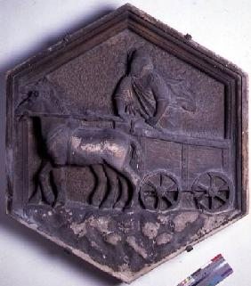 The Art of Theatre, hexagonal decorative relief tile from a series depicting the practioners of the  c.1334-48