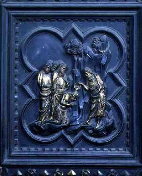 The Baptism of the Disciples, ninth panel of the South Doors of the Baptistery of San Giovanni 1336